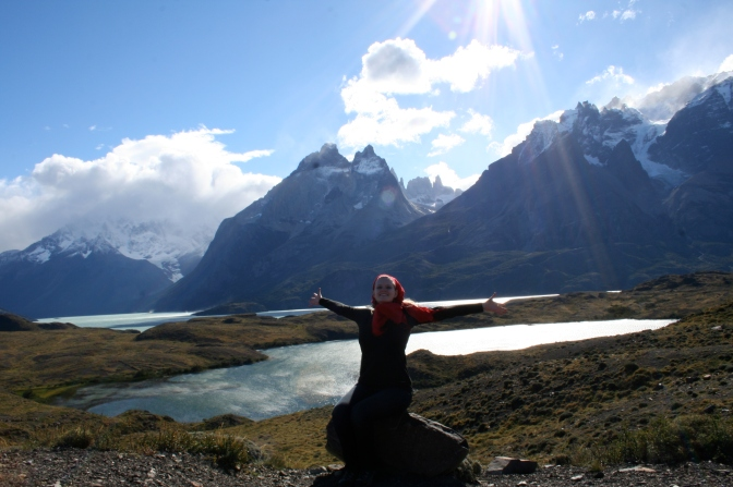 In front of the Blue Massif in Torres del Paine National Park