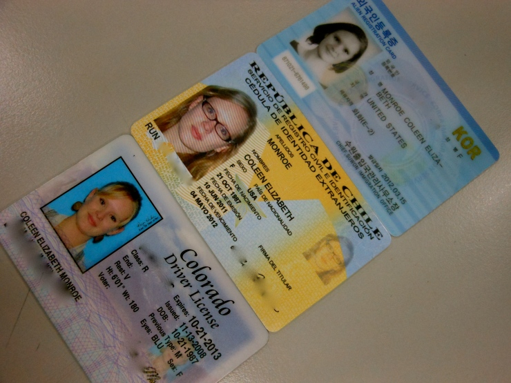 Three different kinds of ID, lined up from three different adventures