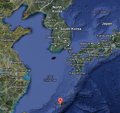 Korea with Okinawa marked. It's a lot farther than I thought, actually.