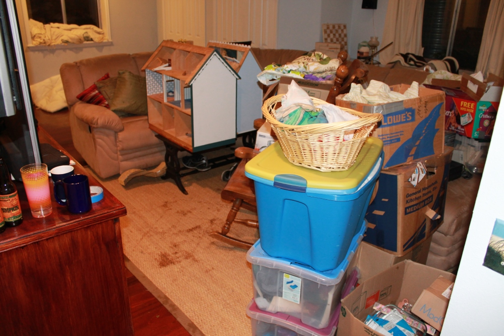 First movement of all the stuff, away from the windows. Most of this had to be moved upstairs.