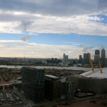 The view of the O2 and Canary Wharf, with the Square Mile in the background