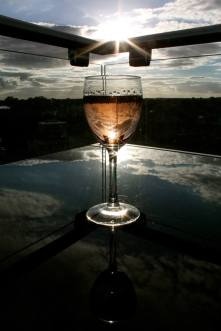 Wine on a roof in Cambridge