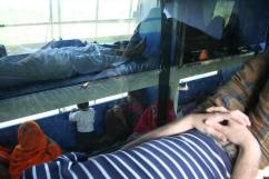 The inside of a sleeper bus