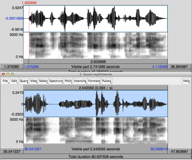 "Waveform and Spectrographs for ""cot, pillow, toothpick, aluminium"""