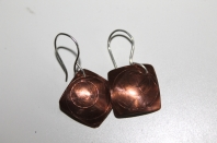 Scribed copper earrings