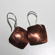 Scribed copper earrings
