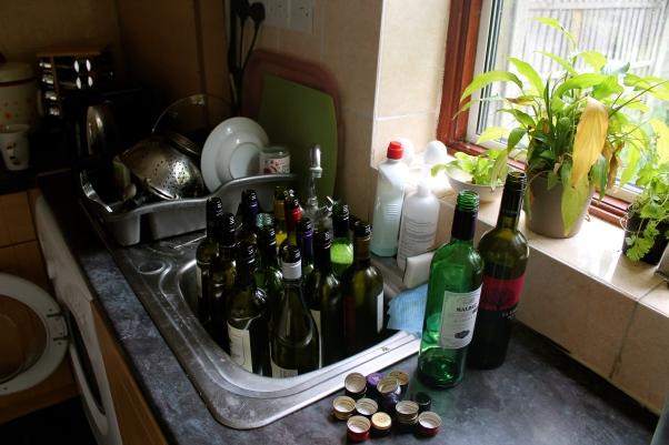 Sanitising the bottles