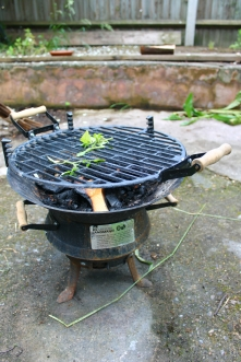 Our 'fire pit,' a repurposed grill