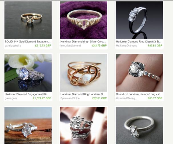 Herkimer Diamond engagement rings, courtesy of Etsy