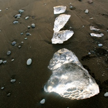 Black sand ice beach, Jökulsárlón, Glacial Lagoon