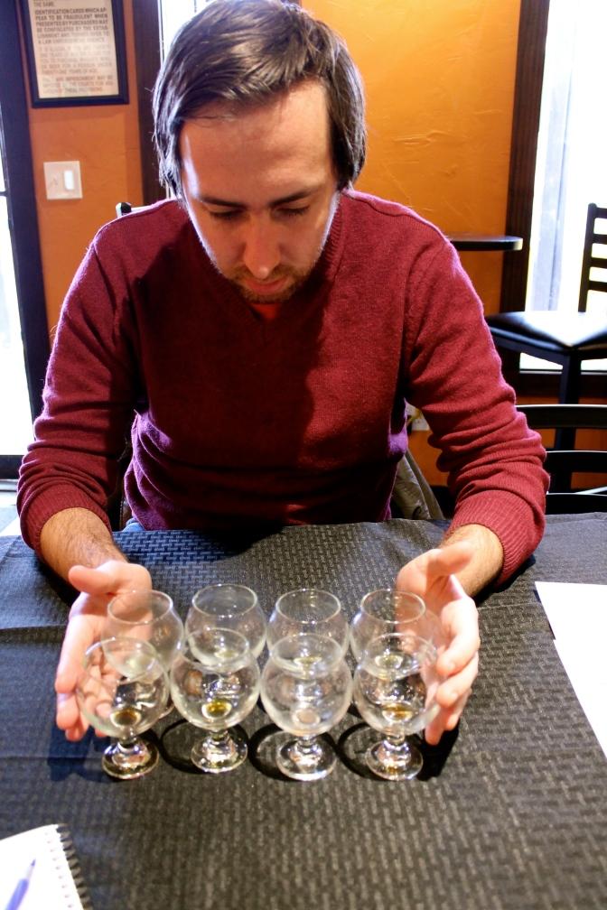Arranging empty glasses.