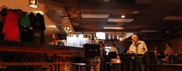 The beer parlour. Little bit dark at night!