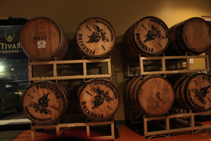 Barrel-aging in process.