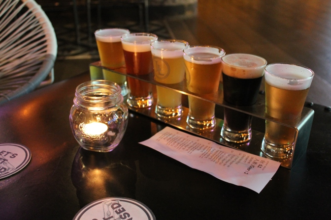 Sampler of six beers, for 110 RMB
