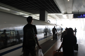Boarding the first train.