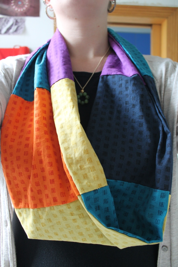 DIY infinity scarf, hand-stiched.