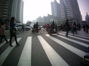 Crossing the road in the pollution