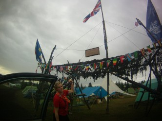 Fake UK border put up at the Scout Jamboree. A bit lame.