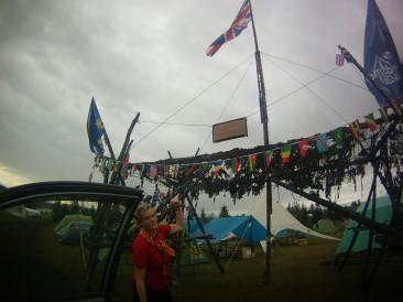Fake UK border put up at the Scout Jamboree. A bit lame.